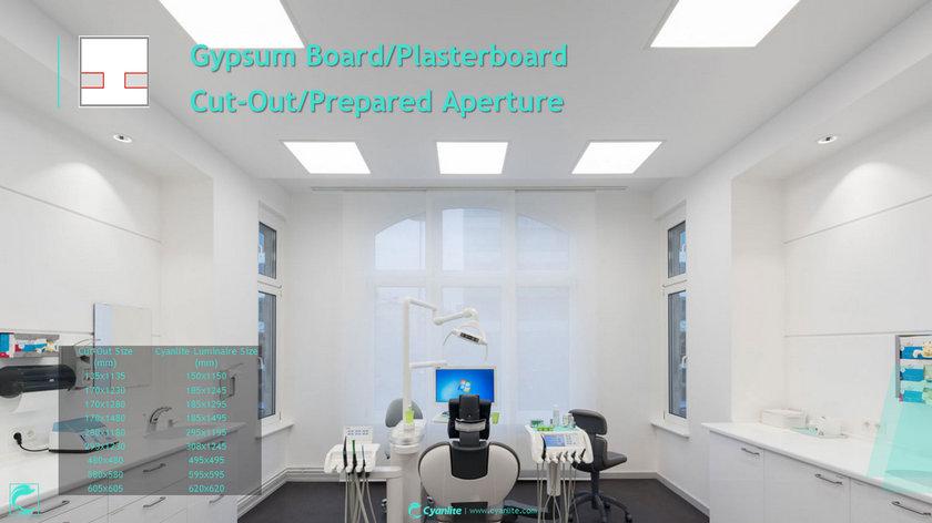 Cyanlite Recessed Frame LED panel light for gypsum board ceiling