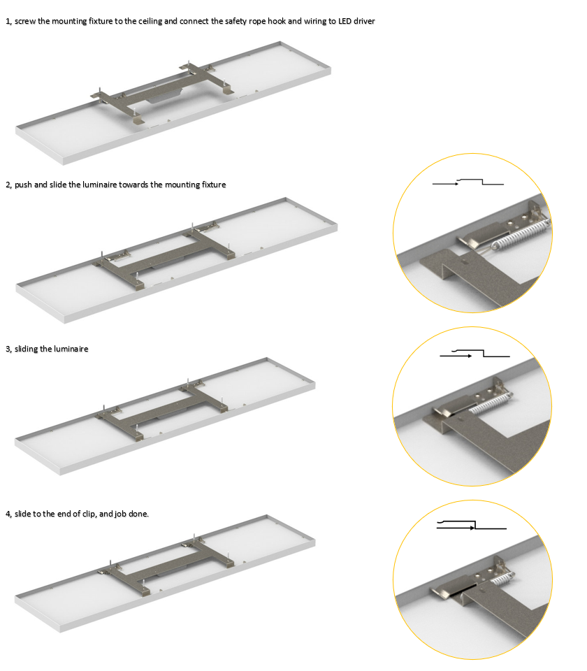 Libra surface mounted luminaire installation steps