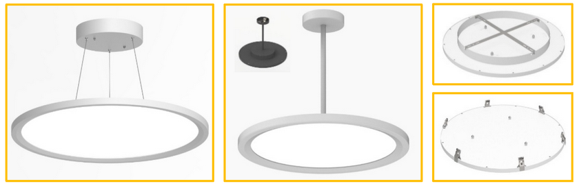 Cyanlite LED round panel light suspended stem mounted surface mounted recessed
