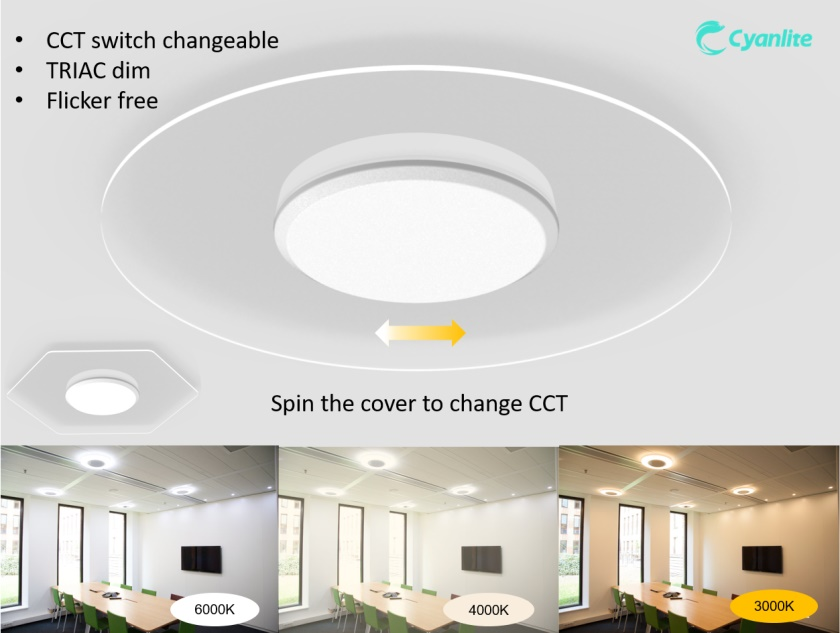 Cyanlite LED Transparent Ceiling Light Saturn